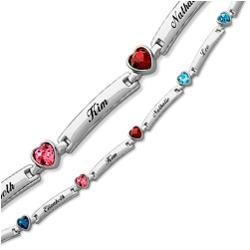 Mother's Birthstone Heart & Name Bar Bracelet