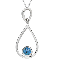 Swiss Blue Topaz Solitaire Pendant in Silver