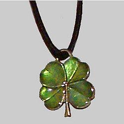Four Leaf Clover Enameled Pendant