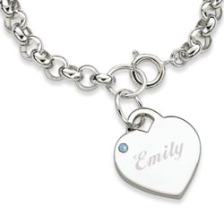 Rhodium-Plated March Engraved Birthstone Heart Charm Bracelet