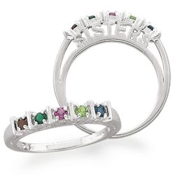 Sterling Silver Sisters Birthstone Bar Ring