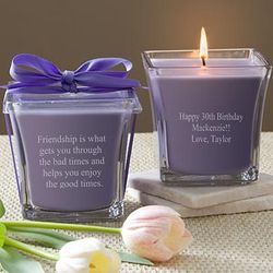 Personalized Lavender and Linen Candle for Birthday