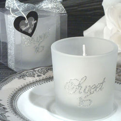 Sweet Sixteen Glitter Round Glass Candle Holder Favor