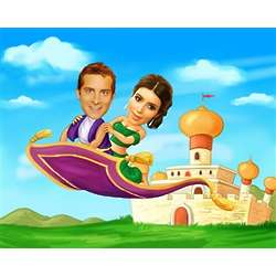 Magic Carpet Ride Caricature from Photo Art Print
