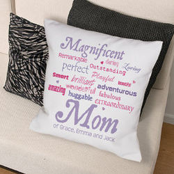 Personalized Magnificent Mom Throw Pillow