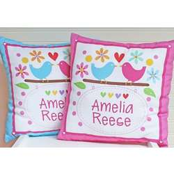 Personalized Love Birds Baby Announcement Pillow