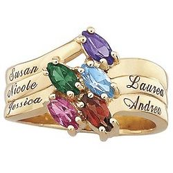10K Family Marquise Birthstone Name Ring