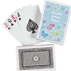 Personalized All Aflutter Aqua Playing Cards