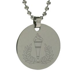 Torch and Laurel Wreath Engravable Tag Pendant