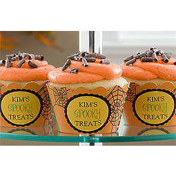 Personalized Spider Web Halloween Cupcake Wrappers