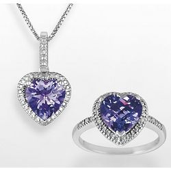 Diamond and Amethyst Heart Pendant & Ring Set