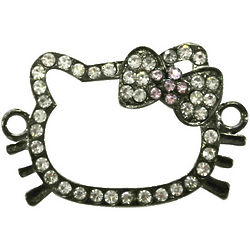 Rhinestone Kitty Outline Bracelet Charms