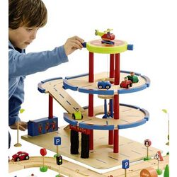 Wooden Parking Garage with Cars