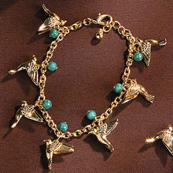 Goldtone Beaded Bird Bracelet