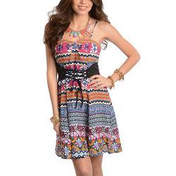 Magenta Sweet Boho Chic Sleeveless Party Dress with Belt