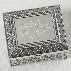 Decorative Ornate Rosary Box with Engraved Monogram
