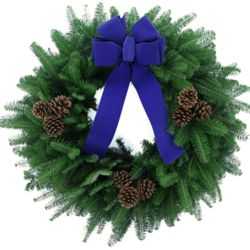 "Balsam Fir 24"" Wreath with Blue Bow and Cones"