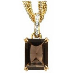 14kt Gold Smokey Topaz and Diamond Pendant