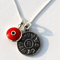 Evil Eye and Prosperity Seal Silver Necklace