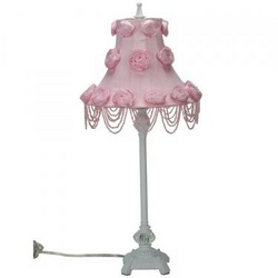 White Scroll Lamp with Rose Swag Shade