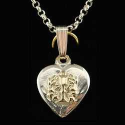 Heart Shaped Gold Inlay Chalice Communion Medal Necklace