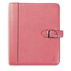Pink Leather Snap-Tab Loose-Leaf Breast Cancer Binder