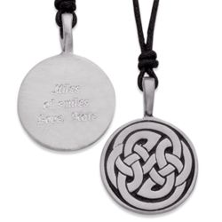 Engraved Round Pewter Celtic Knot Pendant
