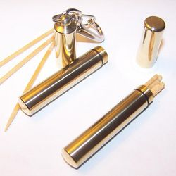 Engravable Brass Toothpick Case