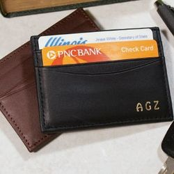 Personalized Leather Magnetic Money Clip Wallet