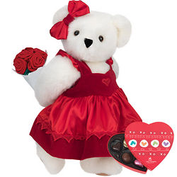 Sweetheart Teddy Bear with Roses and a Small Box of Chocolates