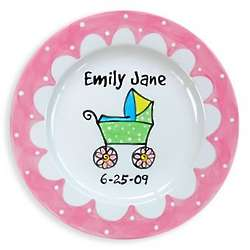Personalized Pink Carriage Baby Plate