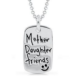 Sterling Silver Mother & Daughter Inscribed Necklace