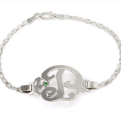 Sterling Silver Initial Bracelet with CZ Birthstone