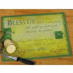 Bless Us Textured Glass Cutting Board