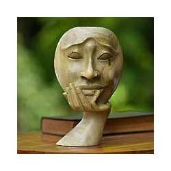 A Man in Thought Wood Sculpture