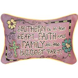 Southern in the Heart Word Decorative Pillow