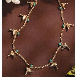 Goldtone Beaded Bird Necklace