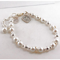 Engraved Baby Feet Mother's Beaded Bracelet with Card