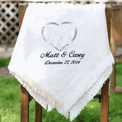 Personalized Embroidered Heart Wedding Throw