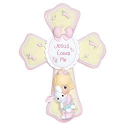 Precious Moments Jesus Loves Me Pink Cross