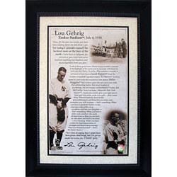 Framed Lou Gehrig Speech