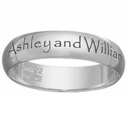 Sterling Silver Top-Engraved Name/Message Band