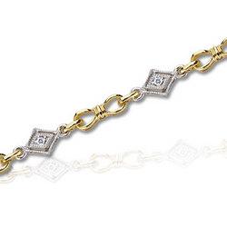 14k Two Tone Diamond Fashion Bracelet