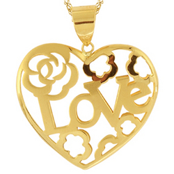 Gold Heart Pendant in 14K Yellow Gold