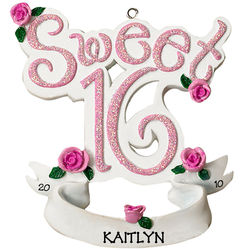 Personalized Sweet 16 Glittered Letters Ornament