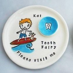 Personalized Boy on a Surfboard Tooth Fairy Plate