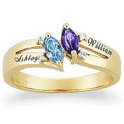 10K Couple's Marquise Birthstone Name Ring with Diamond Accent