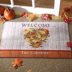 Autumn Heart Personalized Doormat
