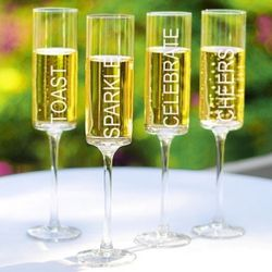 Square Celebration Champagne Flutes