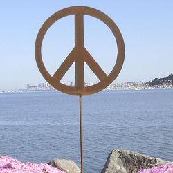 Peace Sign Metal Garden Sculpture